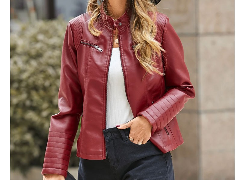 Zip Design Long Sleeves Faux Leather Jacket For Women