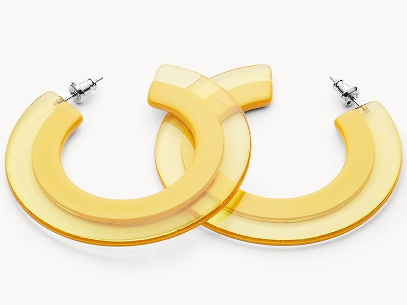 Fossil Women's Yellow Acetate Hoop Earrings