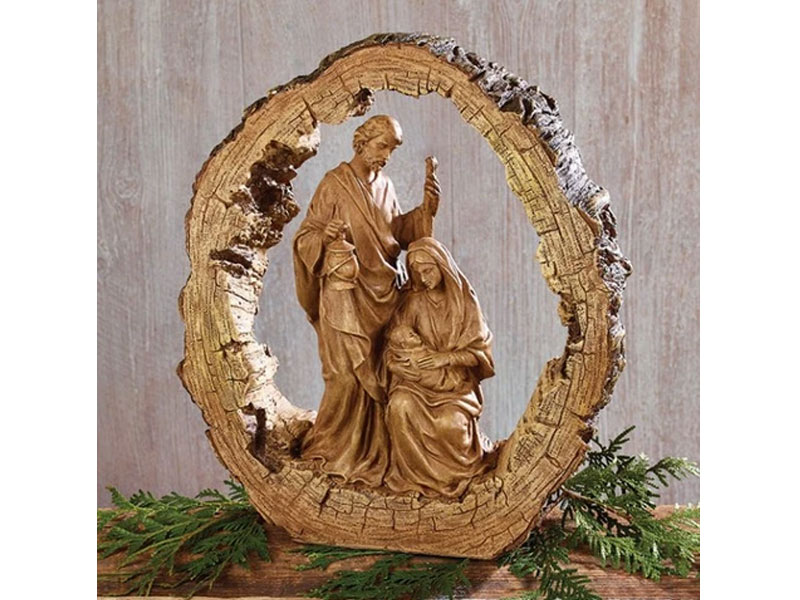 Wood Carved Resin Holy Family Nativity Pack of 2