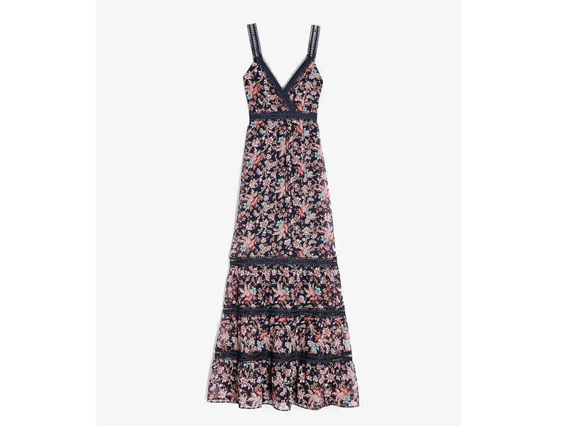 Women's Floral Lace Pieced Tiered Maxi Dress