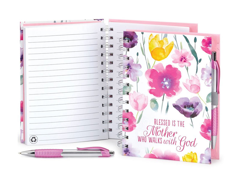 Blessed Is The Mother Who Walks With God Pink Floral Spiral Notebook With Pen