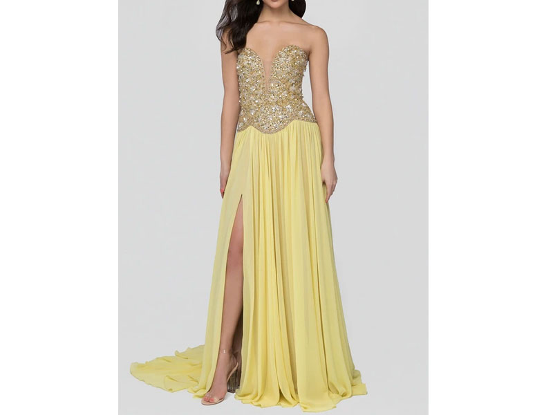 Women's Terani Couture Beaded Plunging Sweetheart Dress