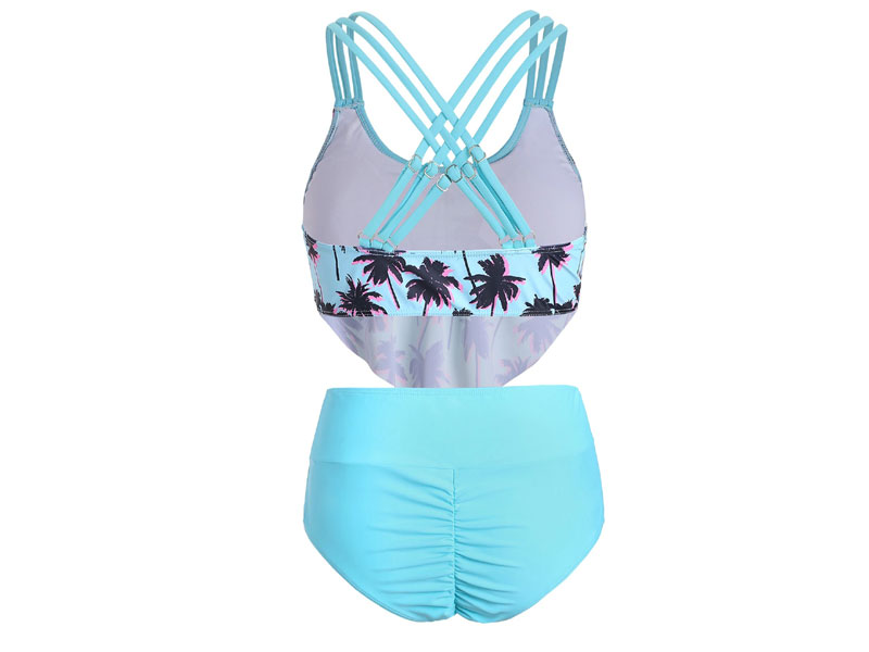 Women's Palm Tree Print Overlay Tankini Swimsuit