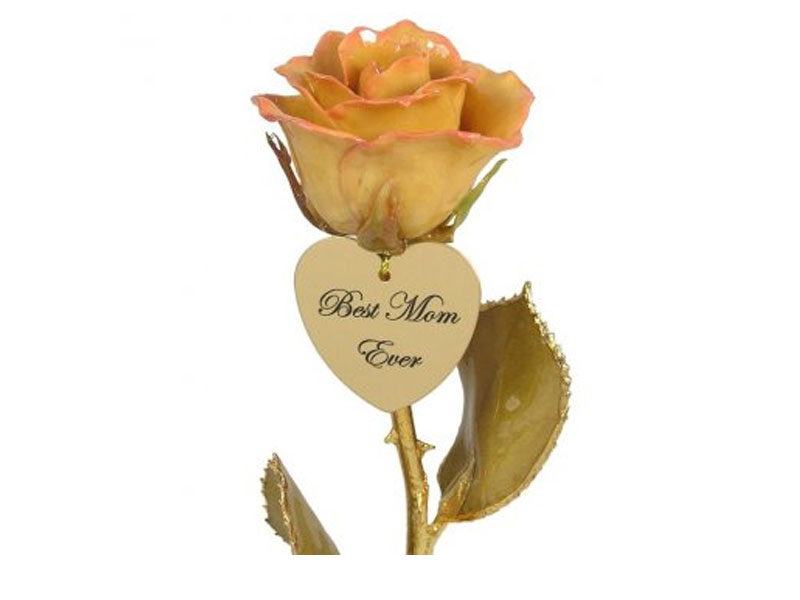 Mother's Day Gold Stem Ivory/Pink Rose And Engraved Heart